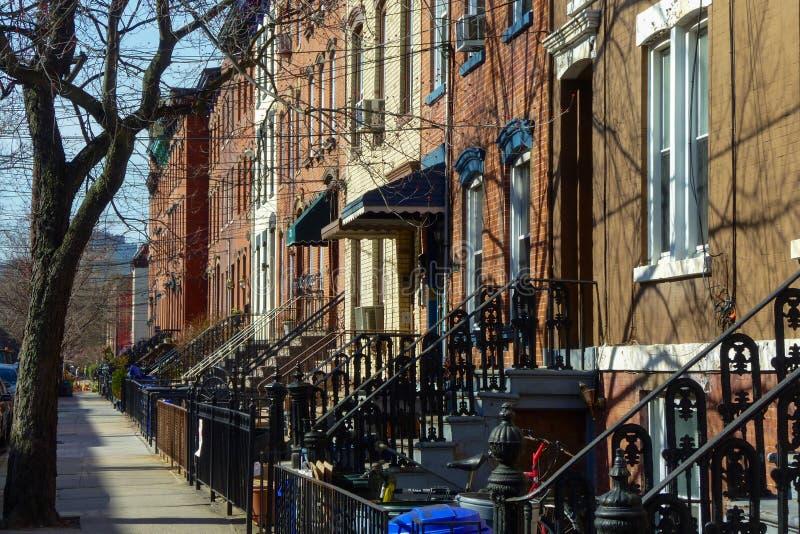 Fileira das casas em Hoboken, New-jersey foto de stock