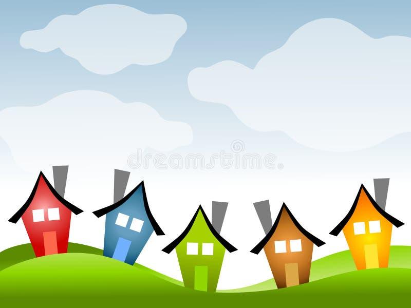 Fileira das casas sob o céu azul ilustração royalty free