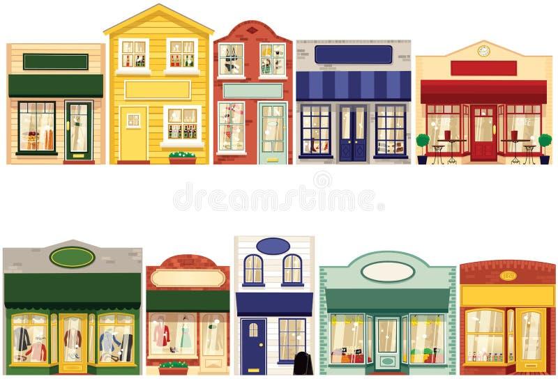 Fileira das lojas ilustração royalty free