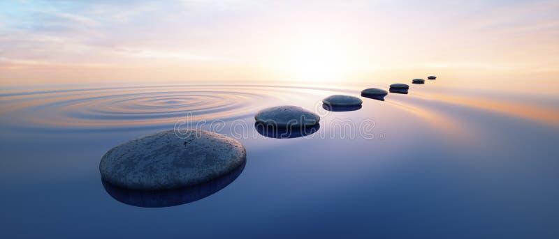 Fileira das pedras na água calma no oceano largo ilustração royalty free
