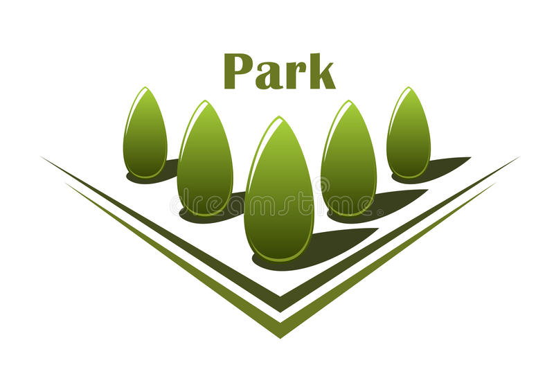 Fileira de árvores verdes na aleia ilustração do vetor