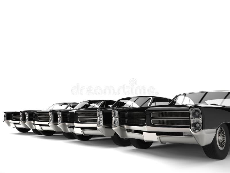 Fileira de automobilístico preto impressionante do vintage estacionado de lado a lado ilustração do vetor