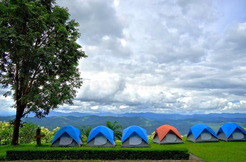 Fileira de barracas de acampamento azuis e alaranjadas na grama verde fotos de stock royalty free