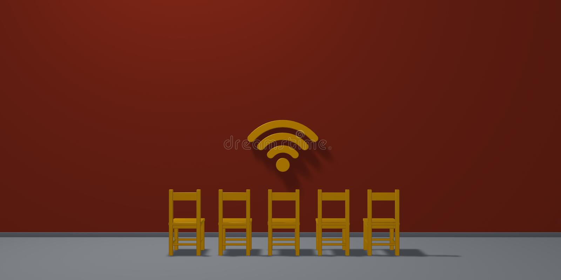 Fileira de cadeiras e de símbolo do wifi ilustração do vetor