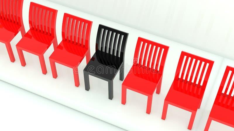 Fileira de cadeiras em cores vermelhas e pretas no branco ilustração stock