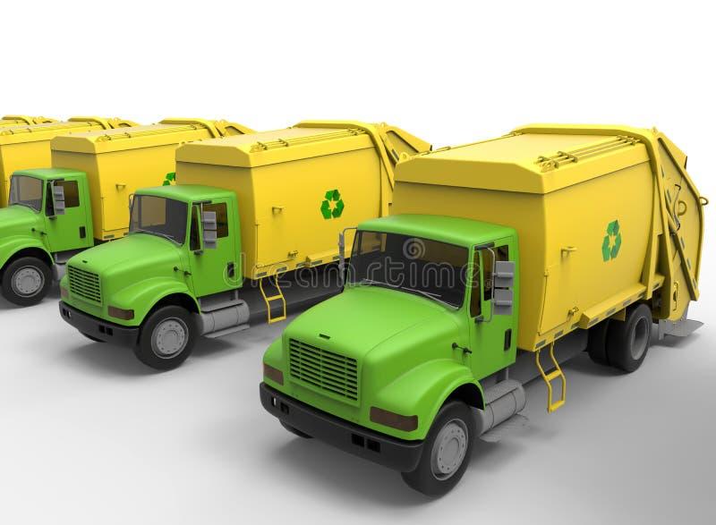 Fileira de caminhões de lixo ilustração royalty free