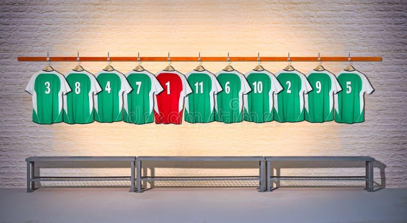 Fileira de camisas verdes e vermelhas do futebol 3-5 fotos de stock