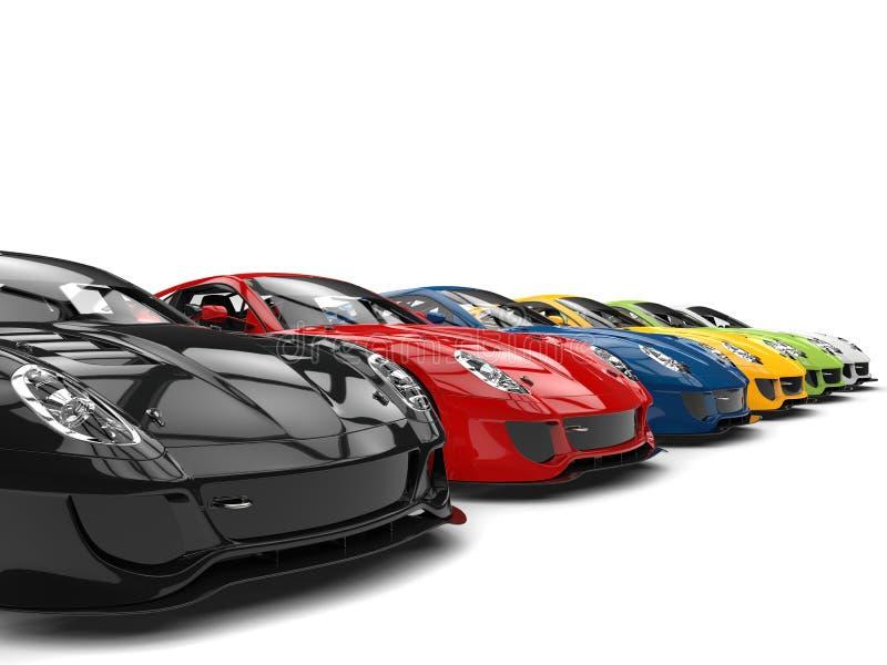 Fileira de carros de esportes modernos frescos em várias cores ilustração do vetor