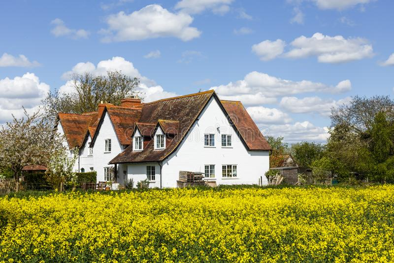 Fileira de casas de campo inglesas da exploração agrícola imagens de stock