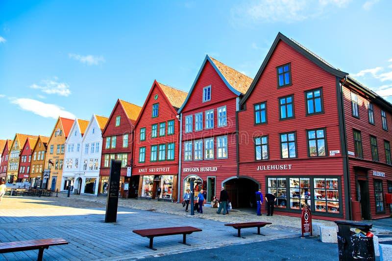 A fileira de casas coloridas em Bergen, Noruega imagem de stock royalty free