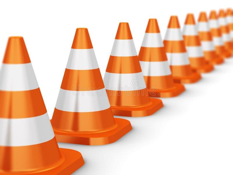 Fileira de cones alaranjados do tráfego ilustração royalty free