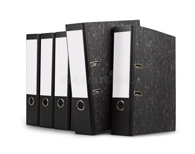 Fileira de dobradores pretos do escritório imagens de stock royalty free