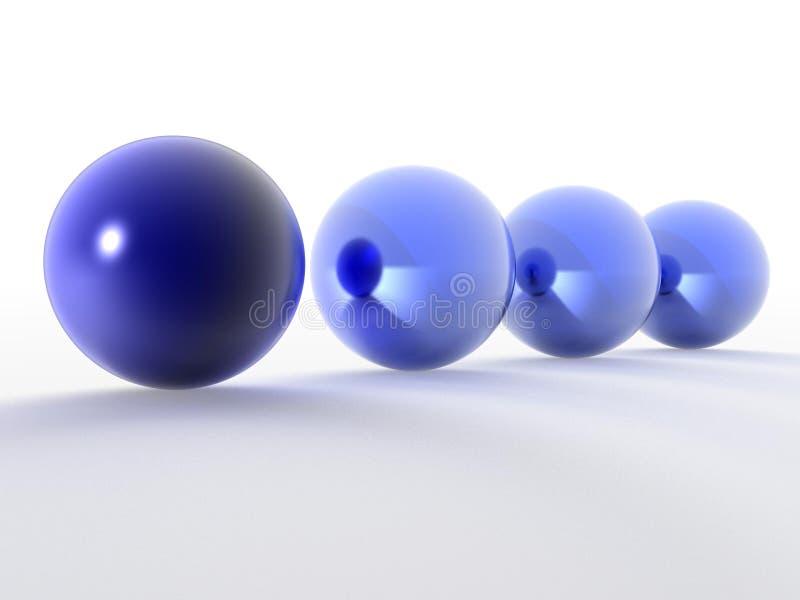 Fileira de esferas do azul 3d ilustração stock