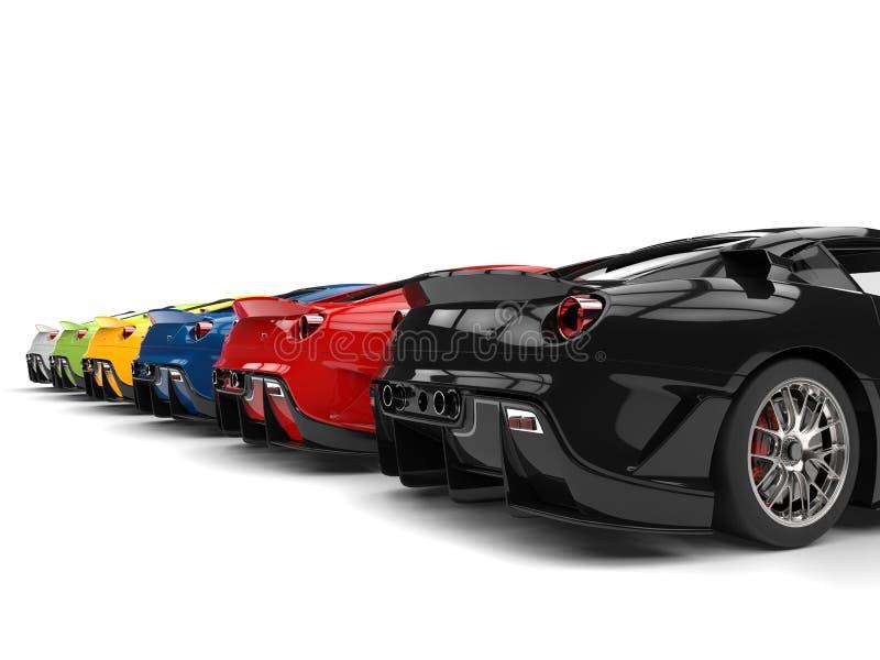 Fileira de grandes carros de esportes modernos em várias cores - vista traseira ilustração stock