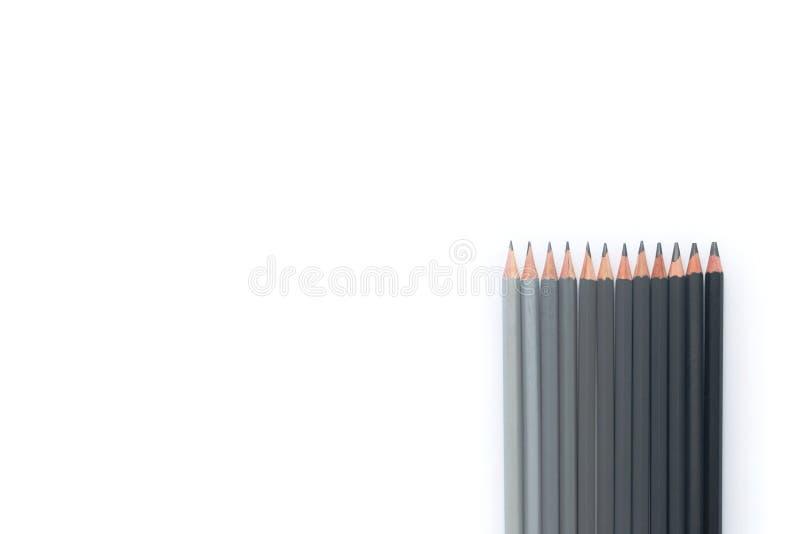 Fileira de lápis cinzentos em um fundo branco Vista superior Copyspace fotos de stock royalty free