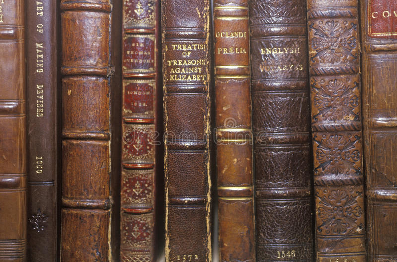 Fileira de livros antigos na prateleira foto de stock royalty free