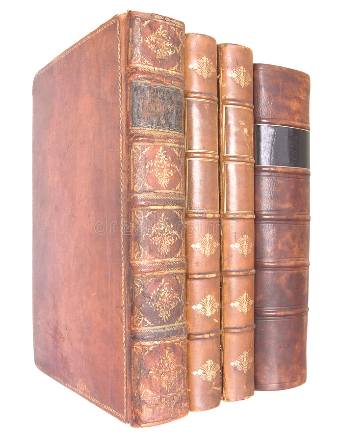 Fileira de livros encadernados de couro velhos fotos de stock