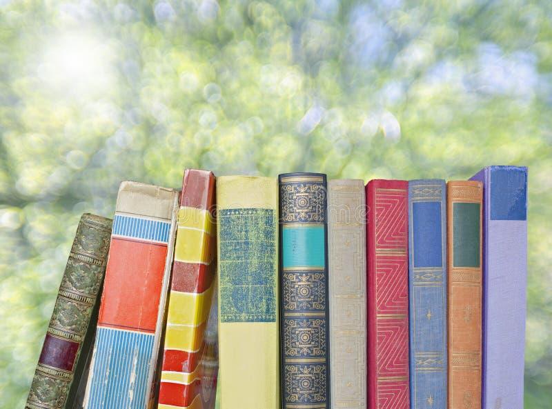 Fileira de livros velhos fotografia de stock