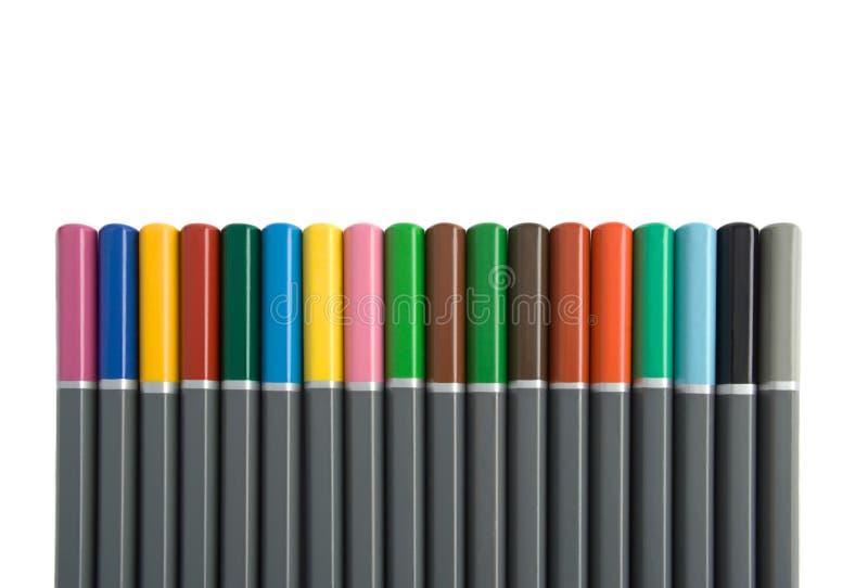 Fileira de multi l?pis coloridos foto de stock