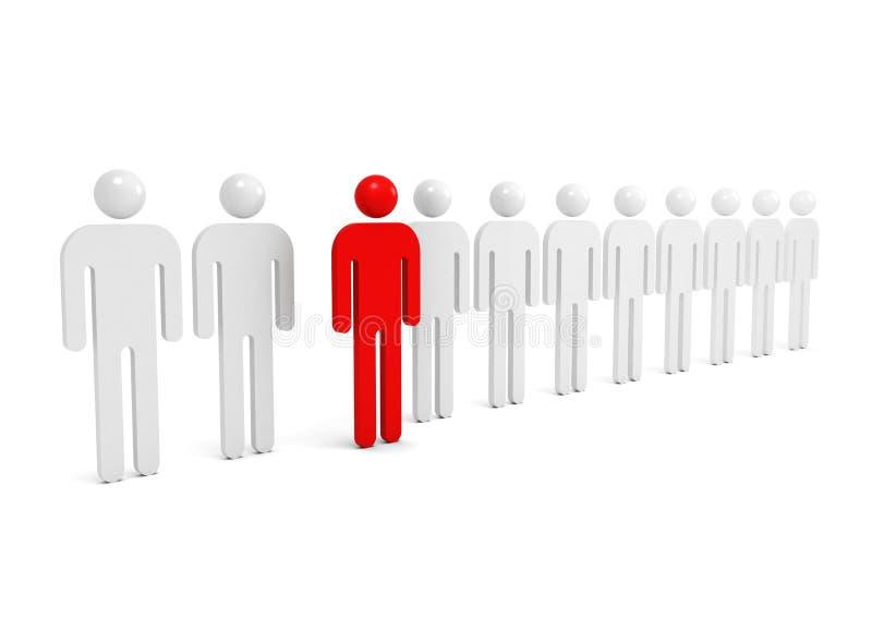 Fileira de povos brancos abstratos com um vermelho ilustração do vetor