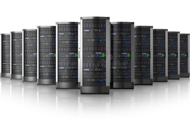 Fileira de server de rede no centro de dados ilustração royalty free