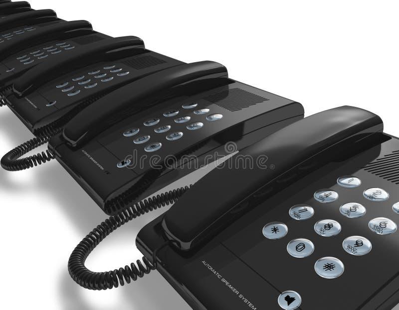 Fileira de telefones pretos do escritório ilustração stock