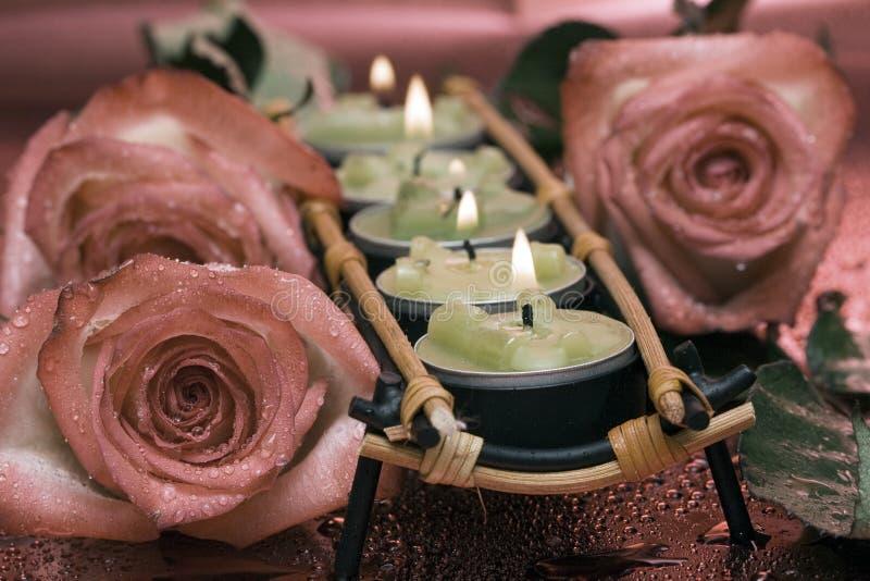 Fileira de velas verdes fotos de stock