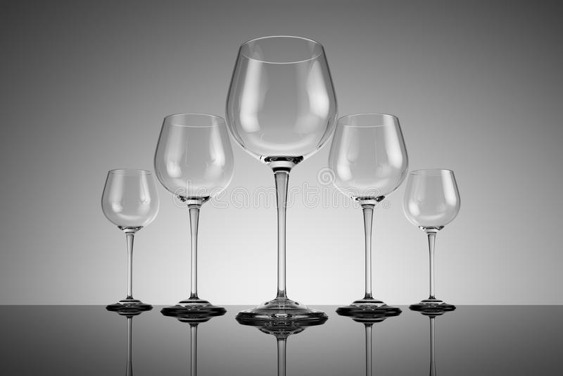 Fileira de vidros de vinho ilustração royalty free