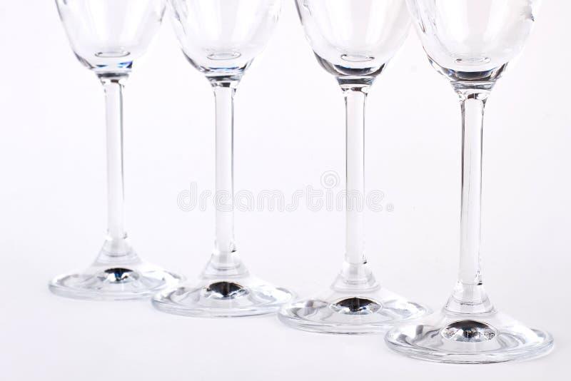 Fileira de vidros vazios claros imagens de stock royalty free