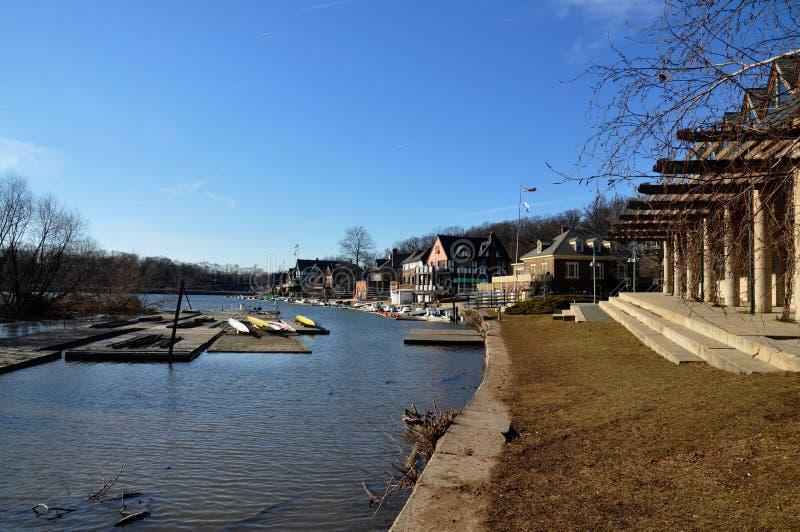 Fileira do Boathouse, parque de Fairmount, Philadelphfia fotos de stock