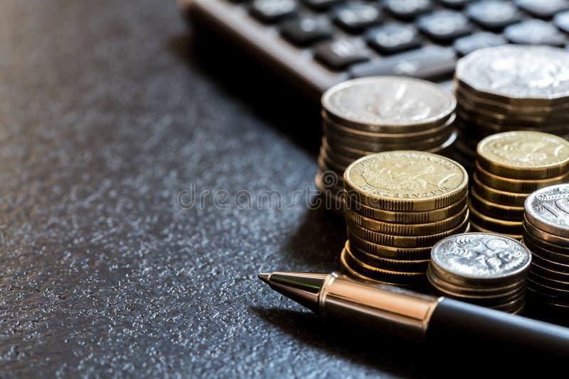 Fileira do conceito australiano da finança das moedas fotografia de stock royalty free