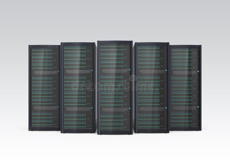 Fileira do sistema do servidor da lâmina isolado no fundo cinzento ilustração do vetor