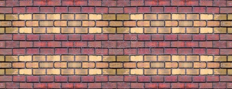 Fileira do tijolo do painel da paralela amarela vermelha dos blocos que repete o projeto baixo do estilo geométrico do fundo do g ilustração stock