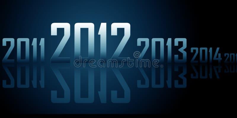 Fileira Dos Anos Com Reflexões (tema De 2012 Anos) Imagem de Stock