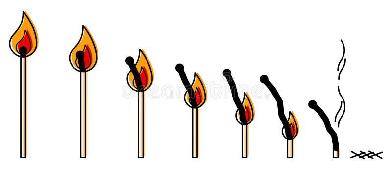 Fileira dos fósforos iluminados que queimam-se para baixo, linha conceptiva limpa simples ilustração do vetor da arte ilustração do vetor