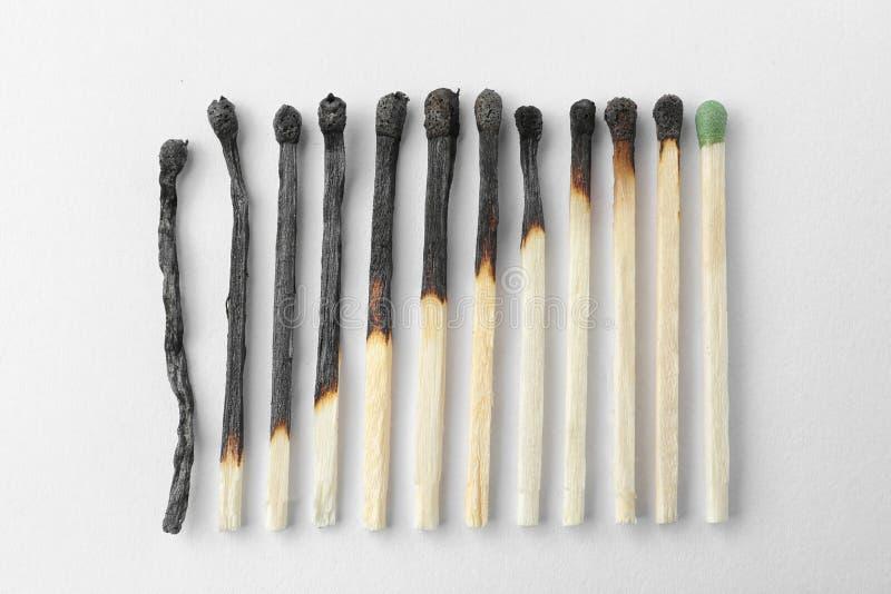 Fileira dos f?sforos e do todo queimados um no fundo branco Conceito das fases da vida humana fotografia de stock
