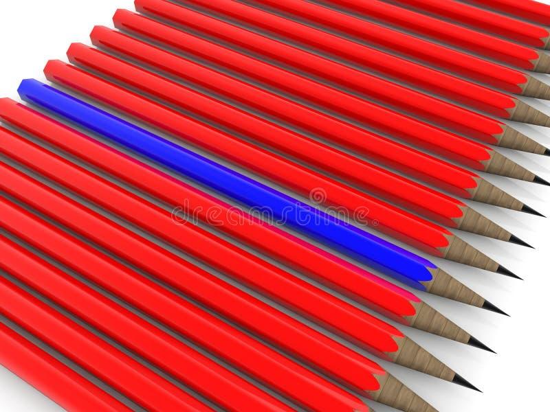 Fileira dos lápis em cores vermelhas e azuis ilustra??o 3D ilustração do vetor