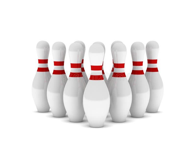 Fileira dos pinos de bowling ilustração royalty free