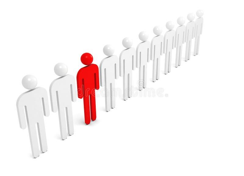 Fileira dos povos abstratos brancos com um vermelho ilustração stock