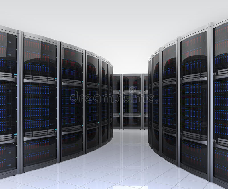 Fileira dos servidores no centro de dados com fundo simples ilustração stock