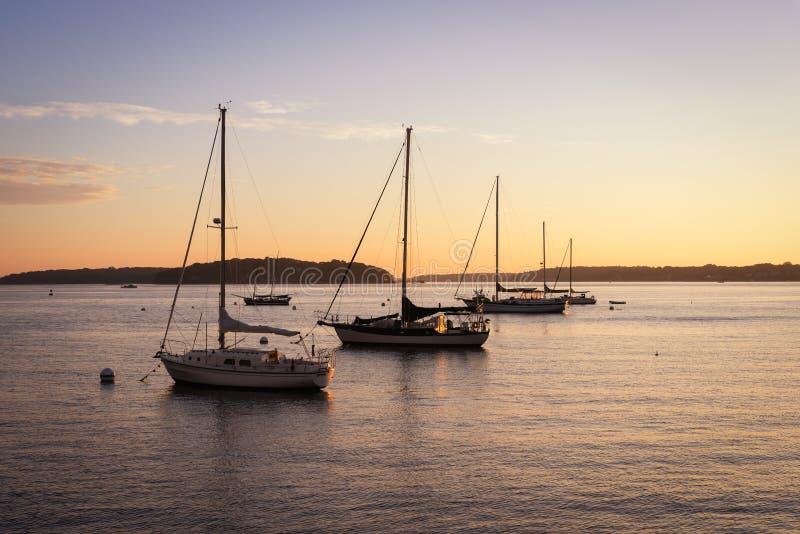 Fileira dos veleiros no nascer do sol em um porto em Maine fotos de stock royalty free