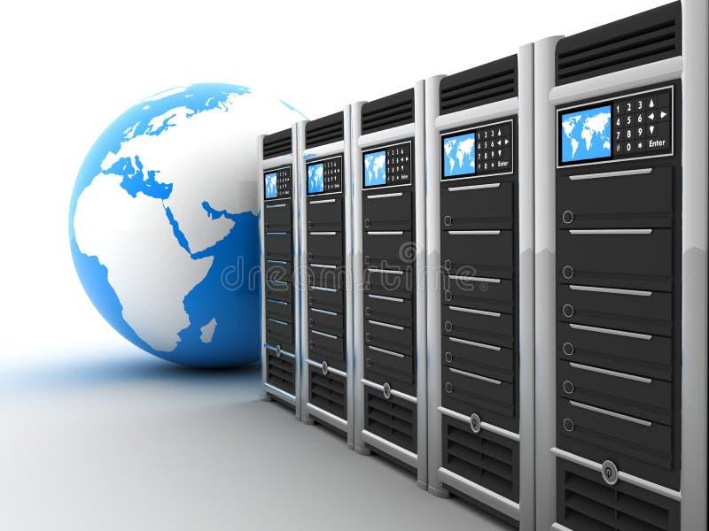 Fileira e terra do server ilustração stock
