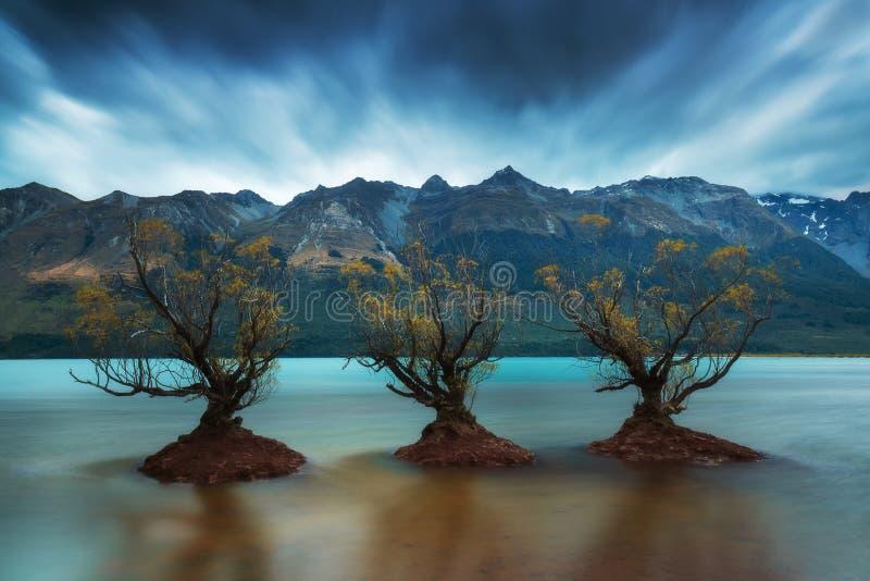 A fileira famosa da ?rvore de salgueiro em Glenorchy, ilha sul, Nova Zel?ndia Localizado perto de Queenstown, Glenorchy ? Nova Ze imagens de stock royalty free