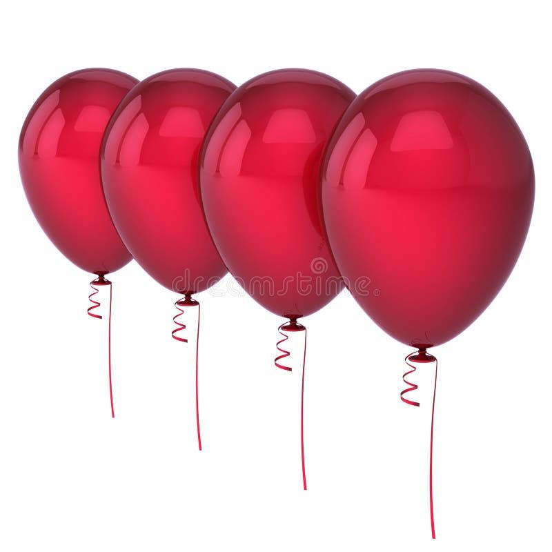 A fileira 4 quatro vazia vermelha dos balões do hélio arranjou ilustração royalty free