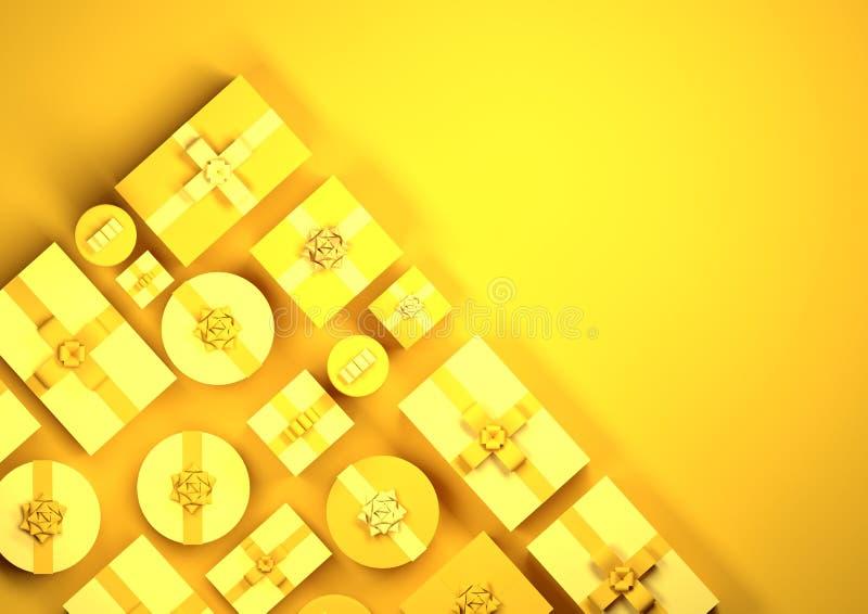 Fileiras amarelas de presentes de Natal fotos de stock