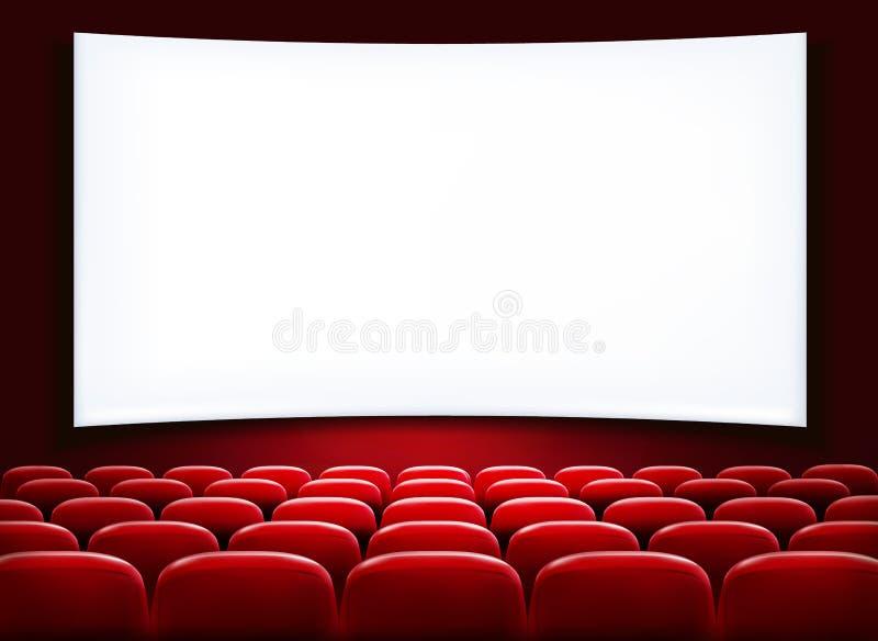 Fileiras de assentos vermelhos do cinema ou do teatro ilustração royalty free