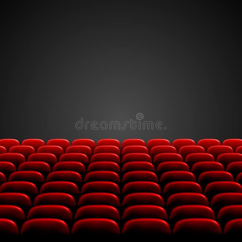 Fileiras de assentos vermelhos do cinema ou do teatro na frente da tela vazia preta Auditório vazio largo do cinema com assentos  ilustração royalty free
