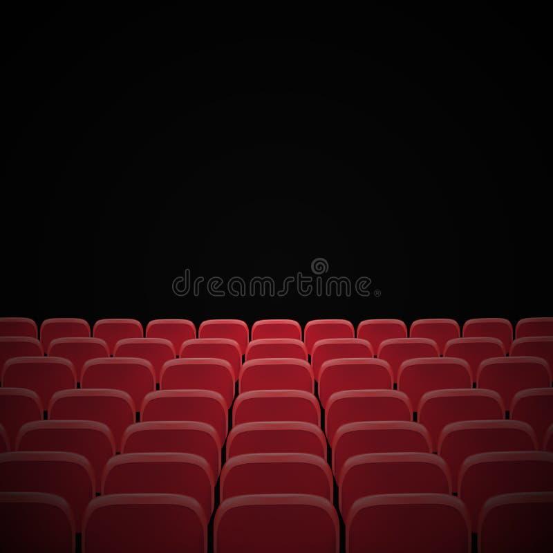 Fileiras de assentos vermelhos do cinema ou do teatro na frente da tela vazia preta Audit?rio vazio largo do cinema com assentos  ilustração do vetor