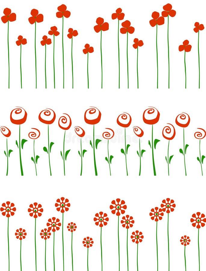 Fileiras de flores vermelhas. ilustração stock
