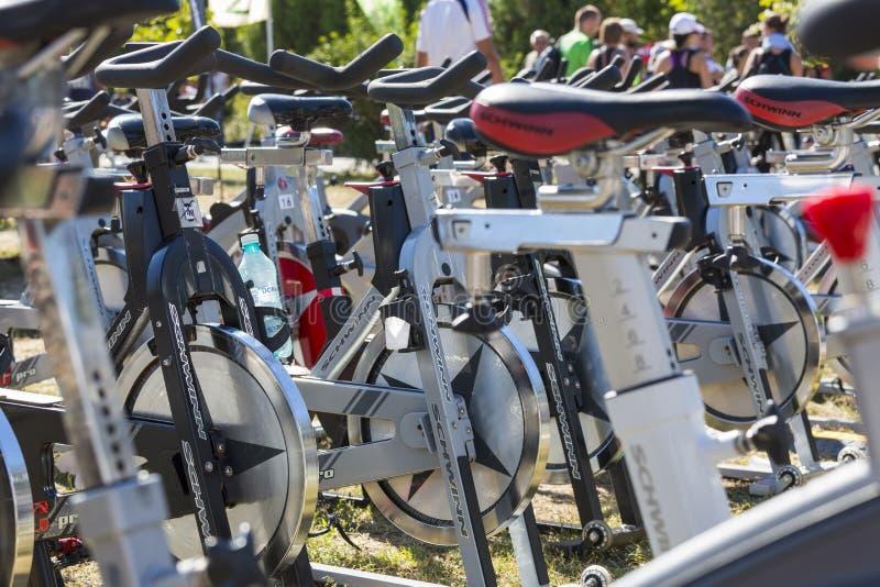 Fileiras de giro estacionárias das bicicletas imagem de stock